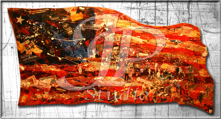 """Stripes of Freedom""; American Flag Colage; The Interwoven Religious Beginnings of Our Nation; Artist Jared Pragel"